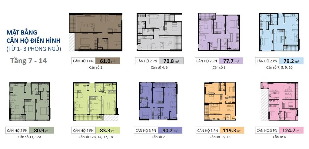 mặt bằng căn hộ kingston tầng 7-14